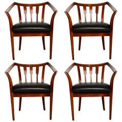 Mid Century Modern Set of Four Custom Walnut Chairs