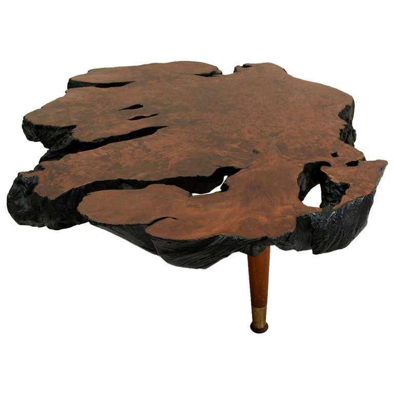 Free Form Solid Burl Wood Coffee Table At 1stdibs