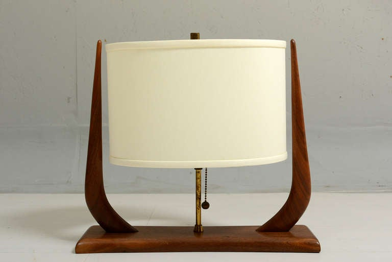 Sculptural Table Lamp Walnut Wood at 1stdibs