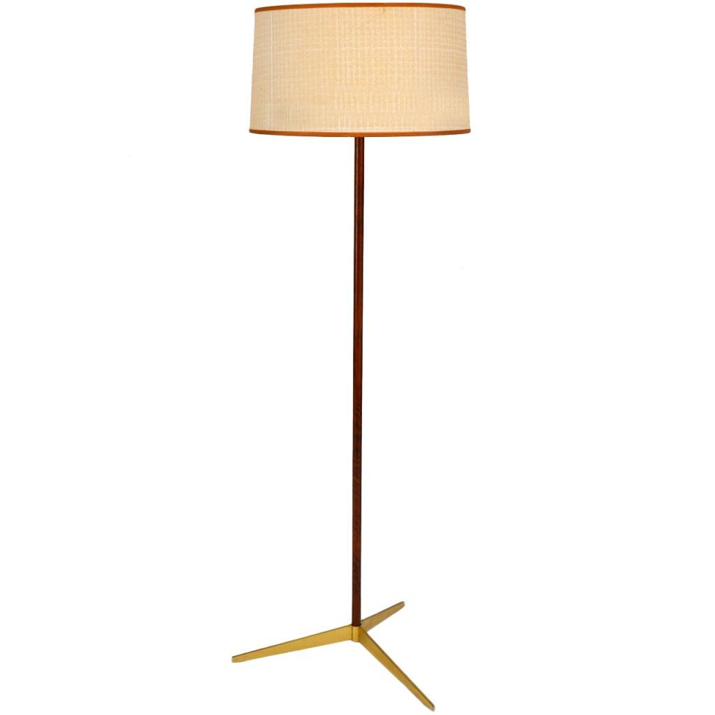 Mid century modern brass tripod rosewood floor lamp for Modern floor lamp on sale