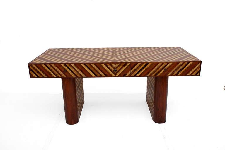 Mid Century Modernist Exotic Wood Desk In Cocobolo Ebony Walnut At 1stdibs
