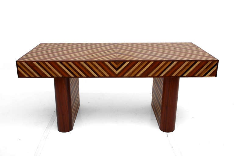Mid Century Modernist Exotic Wood Desk In Cocobolo Ebony