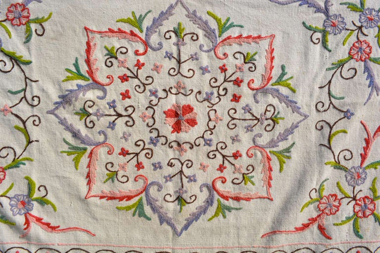 For your consideration, an antique vintage blanket wall tapestry.  Unique pattern with white dominant color and splashes of green, red and light purple formins flower shapes.