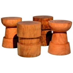 Set of Four Wooden Stools