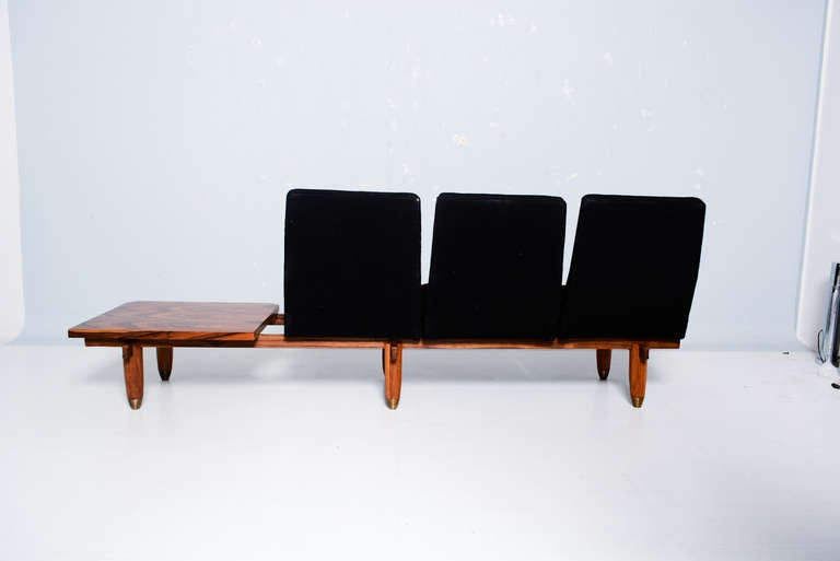 three seat sofa and table bench mid century modern period