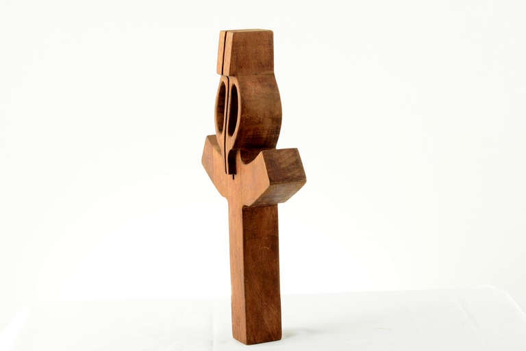 Vintage sculptural wood cross, signed in lower section. Solid mahogany wood.