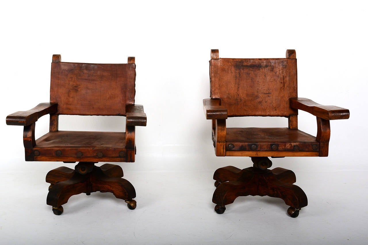Pair Of Mexican Office Chairs At 1stdibs