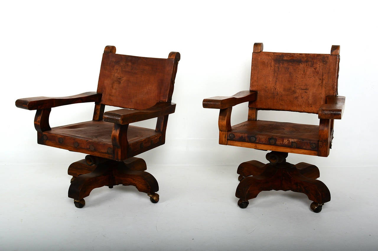 Pair Of Mexican Office Chairs For Sale At 1stdibs