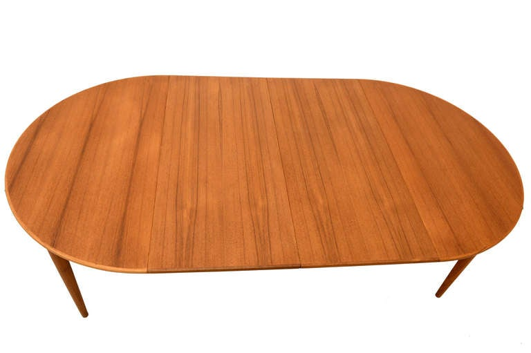 Danish Modern Teak Oval Dining Table For Sale 1