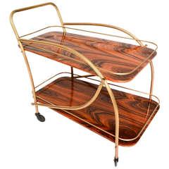 Brazilian Rosewood Doble Deck Service Cart