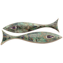 Large Modernist Fish Drawer Handle by Los Castillo Amethyst and Azurite