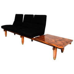 Three-Seat Sofa and Table Bench Mid Century Modern Period