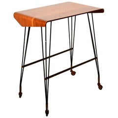 TV Italian Carrello Side Table Rolling Desk Midcentury Modern Media Office 1940s