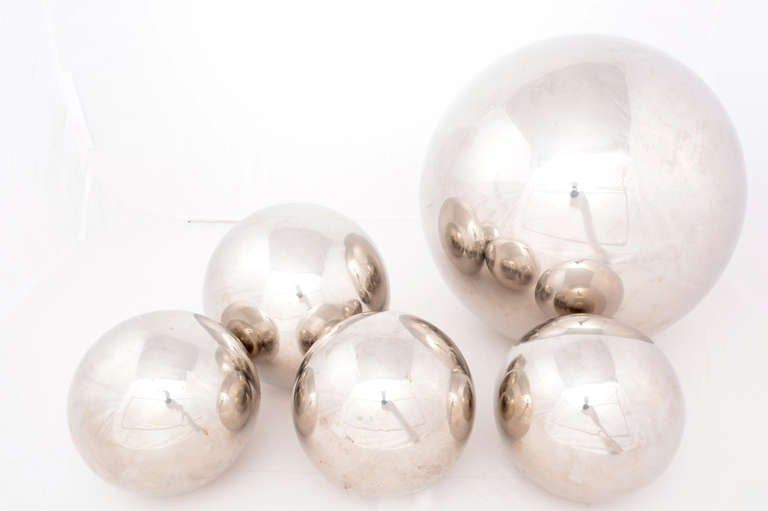 Set of Five Chrome Sphere Sculptures by Diego Matthai In Excellent Condition In National City, CA