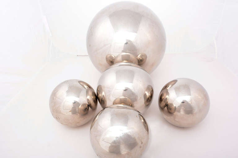 20th Century Set of Five Chrome Sphere Sculptures by Diego Matthai