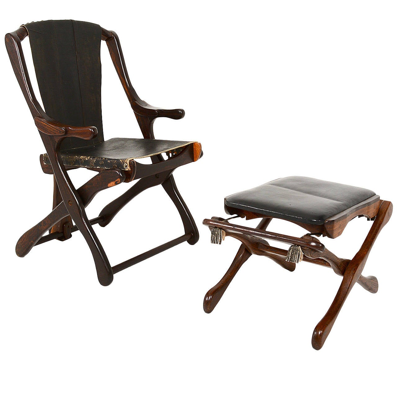 Don Shoemaker Folding Chair With Matching Ottoman