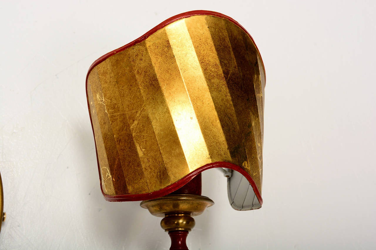 Italian Style Wall Sconces : Pair of Italian Wall Sconces with Brass Shield in the Ponti Style For Sale at 1stdibs