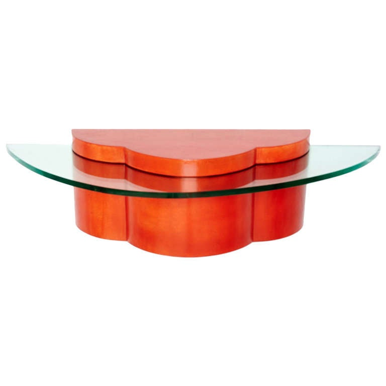 Parchment and Glass Floating Wall Console