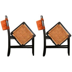 Clara Porset  Modernist Leather & Cane on Black Wood Folding Chairs 1950s MEXICO