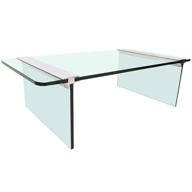 Pace Coffee Table, Glass and Aluminum