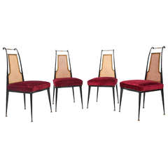 Arturo Pani Red Velvet Dining Chairs Mid Century Mexican Modernist