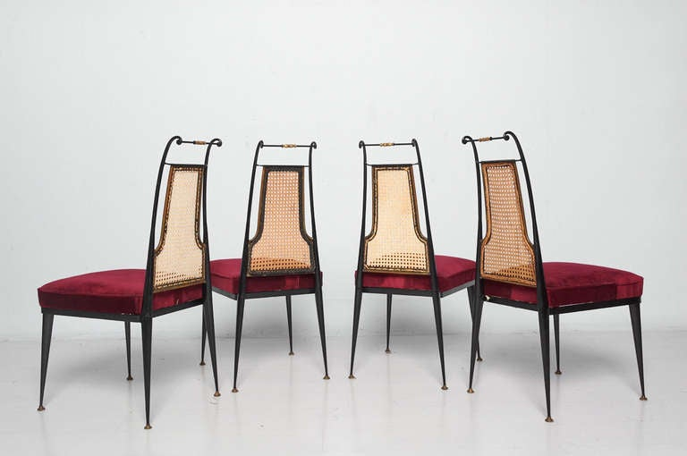 Arturo pani red velvet dining chairs mid century mexican for Red dining chairs for sale