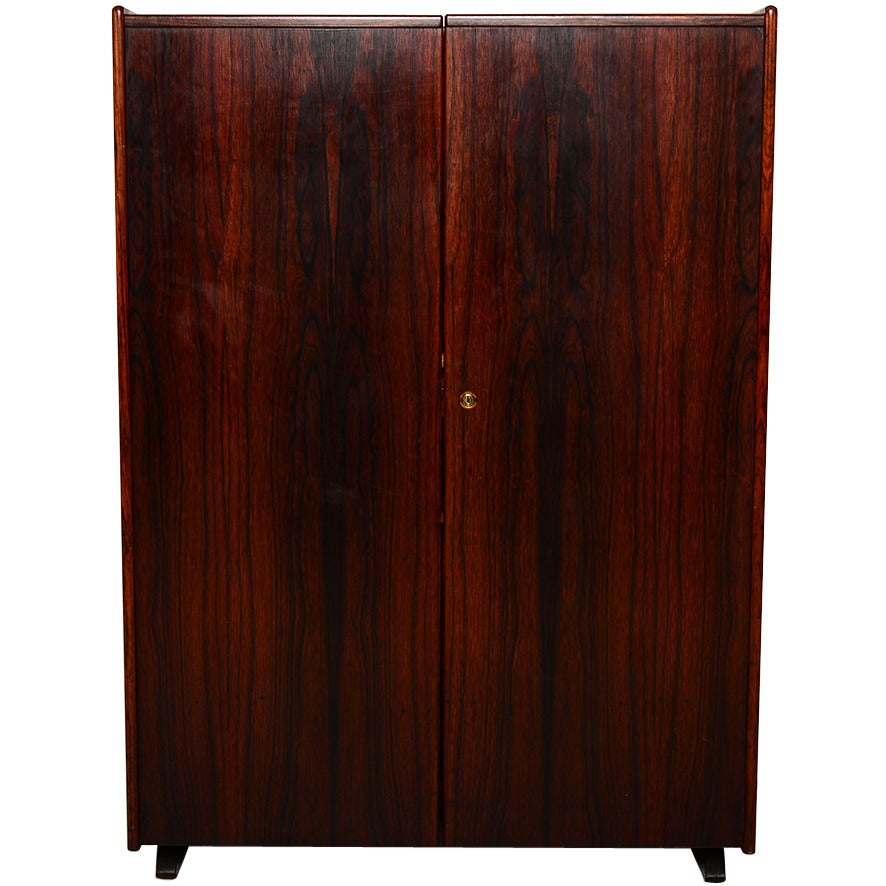 Mid Century Danish Modern Rosewood Hideaway Desk Cabinet For