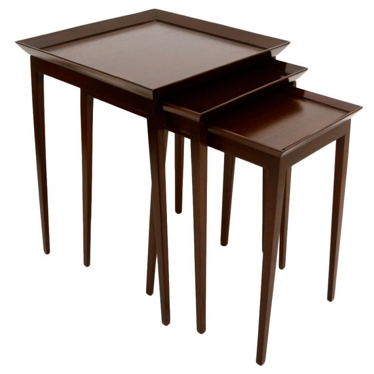 Stackable Nesting Tables ~ Widdicomb set of nesting mahogany tables for sale at stdibs