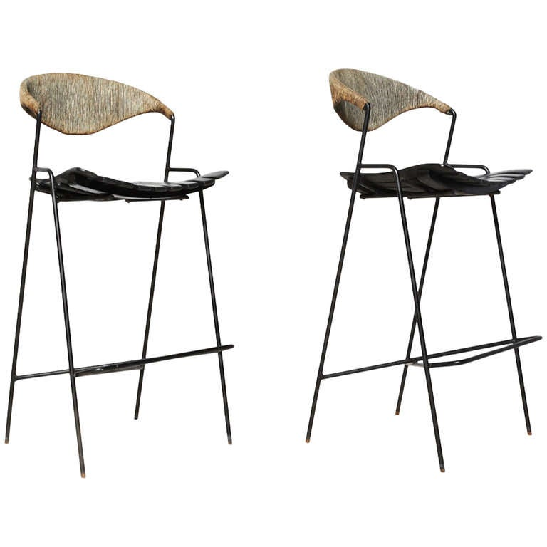 Pair Of Arthur Umanoff Bar Stools At 1stdibs