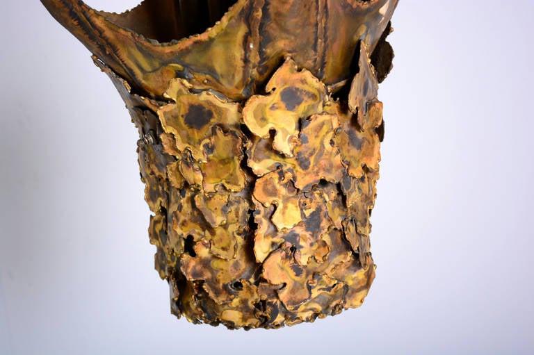 American Tom Greene Brutalist Torch Cut Chandelier For Sale