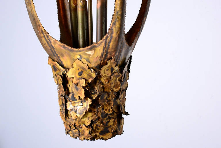 Brass Tom Greene Brutalist Torch Cut Chandelier For Sale