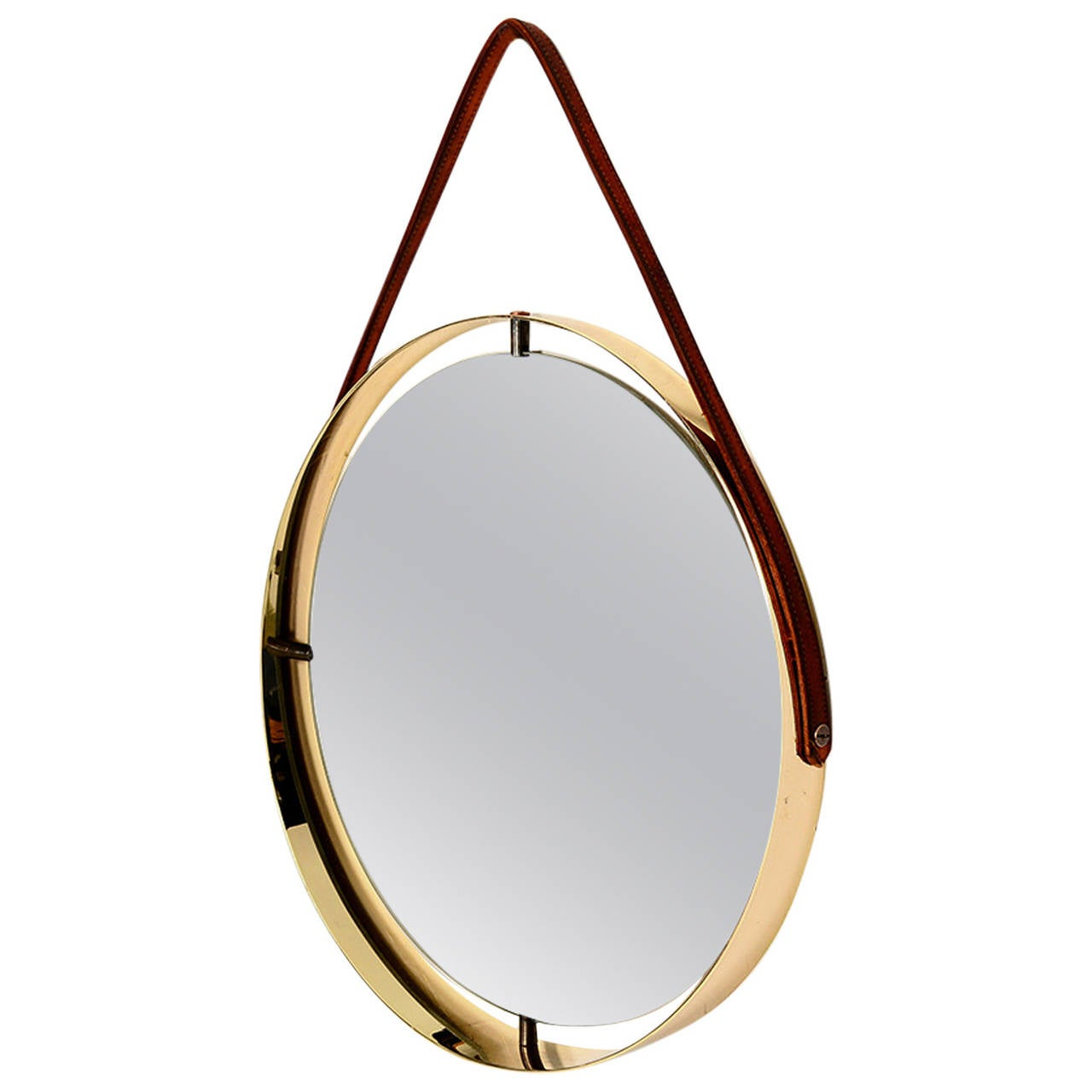 Round Mirror With Leather Strap For