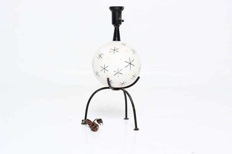 American Mid-Century Single Ceramic Table Lamp For Sale