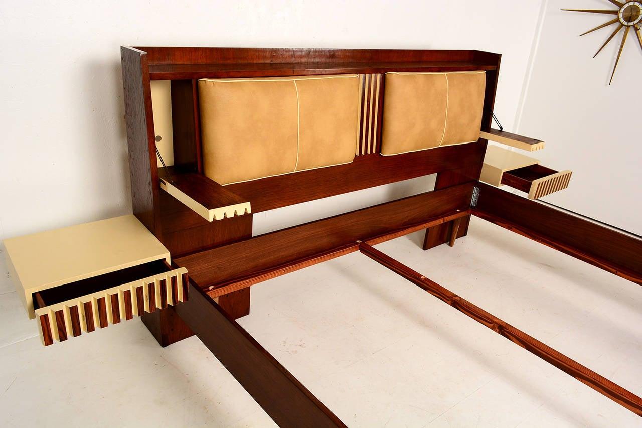 Lane King Size Platform Bed with Floating Nightstands at 1stdibs