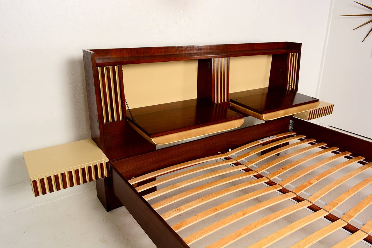 Lane King Size Platform Bed With Floating Nightstands At