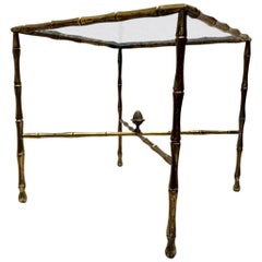 Custom Faux Bamboo Brass Side Table by Arturo Pani