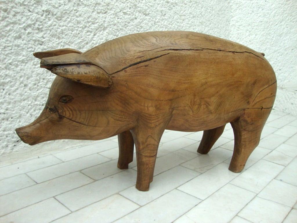 Pig Wood Sculpture Stool At 1stdibs