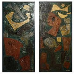 Pair of Abstract Ricardo Santamaria Paintings