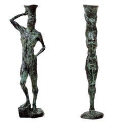Mid Century Modern Bronze Sculpture Holders After Giacometti