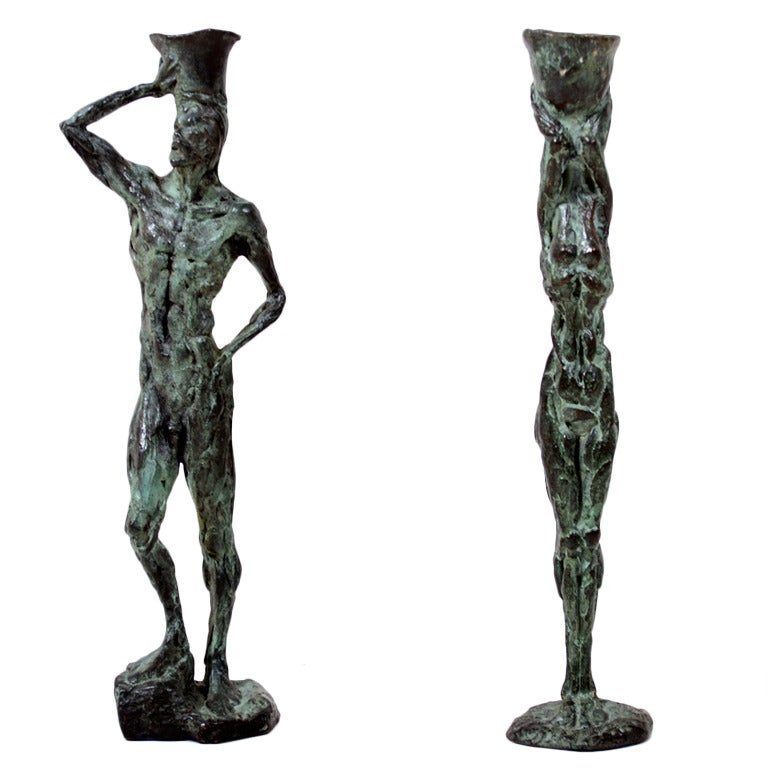 Mid Century Modern Bronze Sculpture Holders After Giacometti For Sale