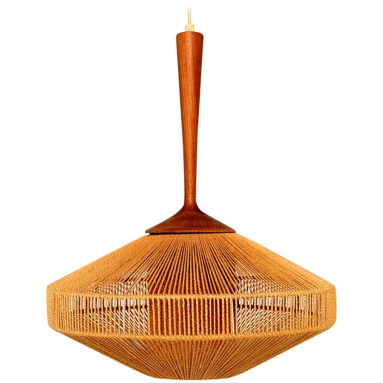 scandinavian light fixture in teak and rope fog and morup