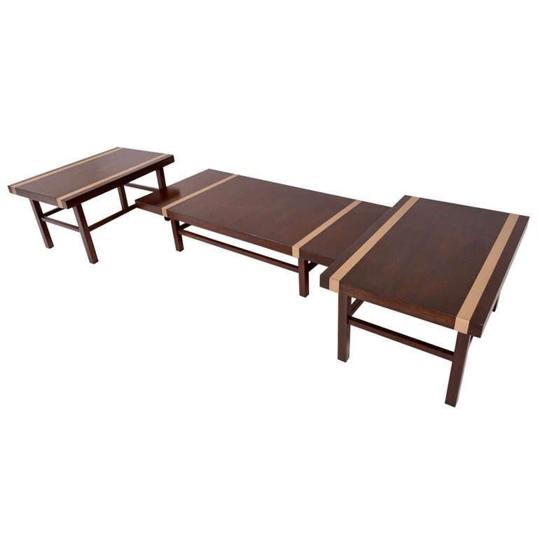 Set coffee table and side tables mid century period at 1stdibs for Side coffee table set