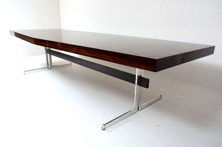 For Your Consideration A Eleven Foot Long Conference Table In Exotic  Rosewood Mounted In Solid Aluminum