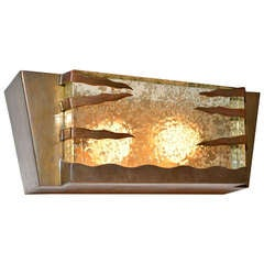 Mid Century Modern Italian Wall Sconce with Brass Frame