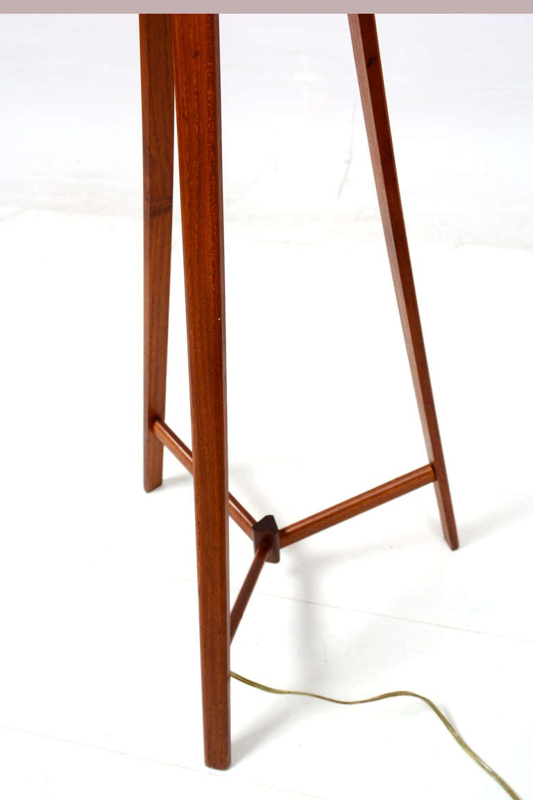 Alder Design Teak Tripod Floor Lamp Boston Ma At 1stdibs