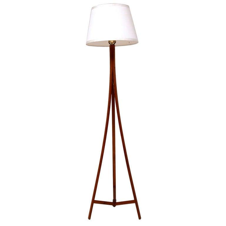 Alder Design Teak Tripod Floor Lamp Boston Ma At 1stdibs