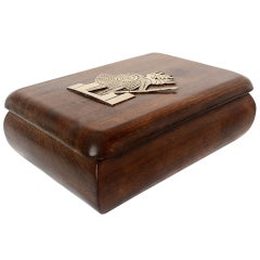 Jewelry Box Exotic Mahogany with Silver Emblem
