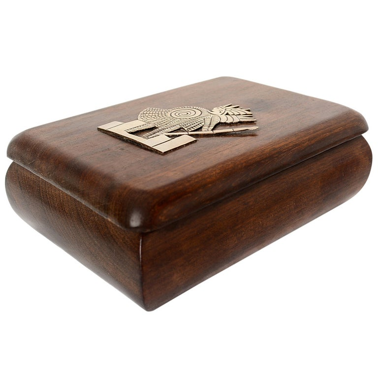 Jewelry Box Exotic Mahogany with Silver Emblem For Sale