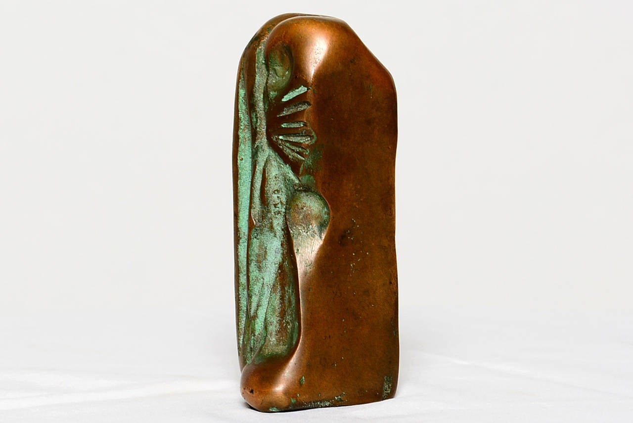For your consideration a custom-made abstract sculpture in solid bronze with verdigris patina.