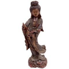 Antique Kwan Yin Wooden Sculpture